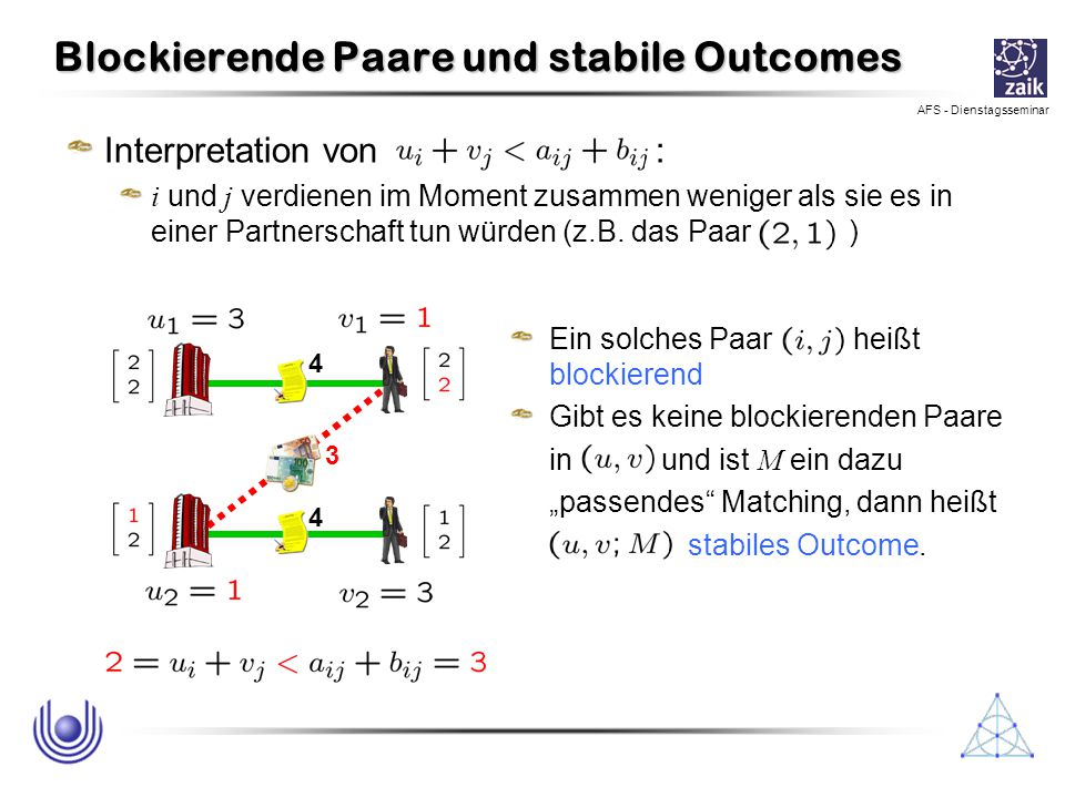 Blockierende Paare und stabile Outcomes