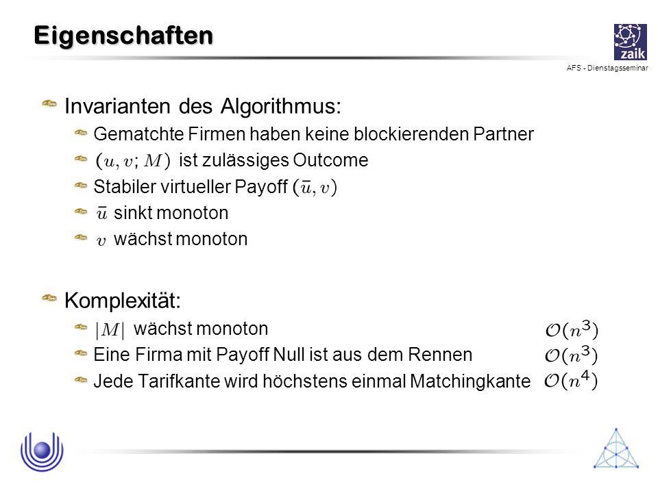 Eigenschaften Invarianten des Algorithmus: Komplexität:
