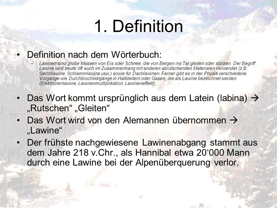 1. Definition Definition nach dem Wörterbuch: