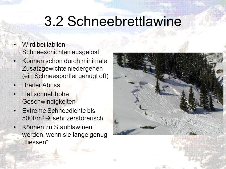 3.2 Schneebrettlawine Wird bei labilen Schneeschichten ausgelöst