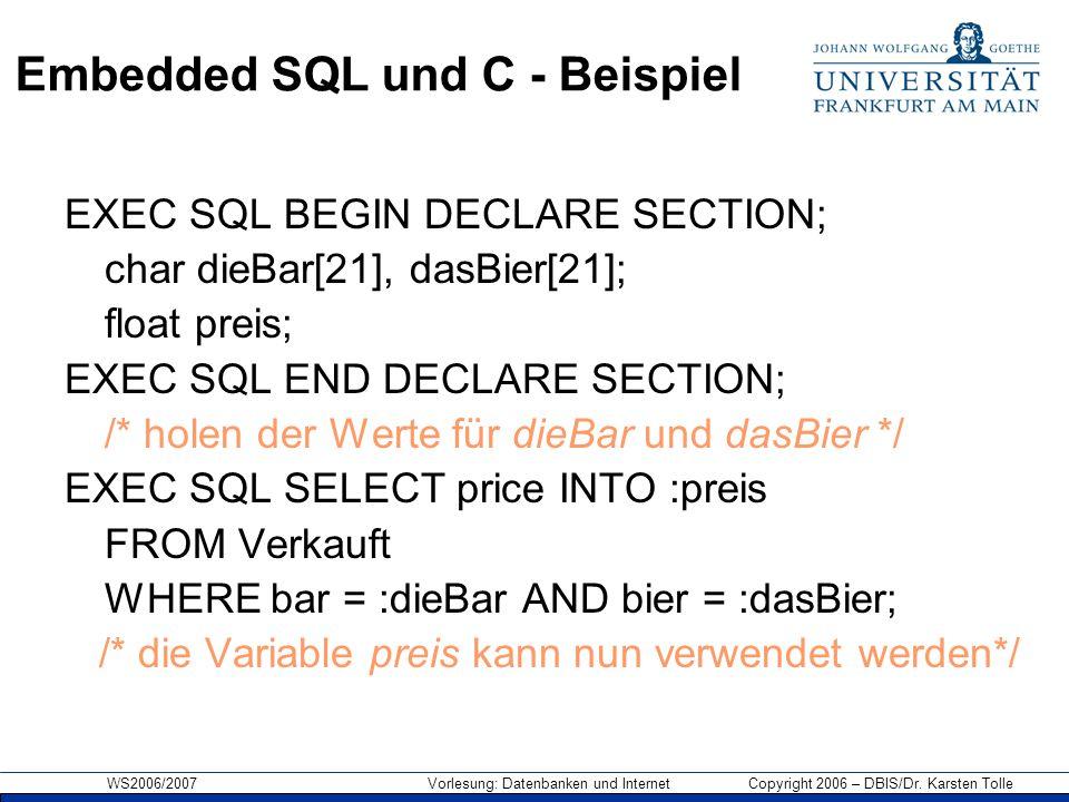 Embedded SQL und C - Beispiel
