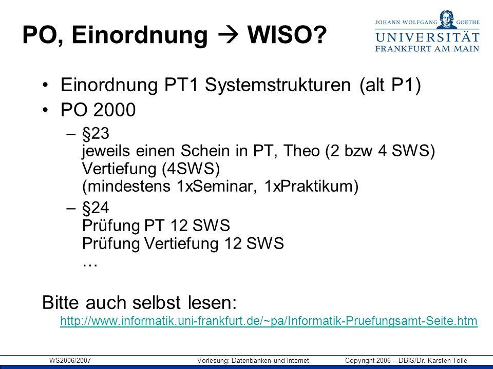 PO, Einordnung  WISO Einordnung PT1 Systemstrukturen (alt P1)