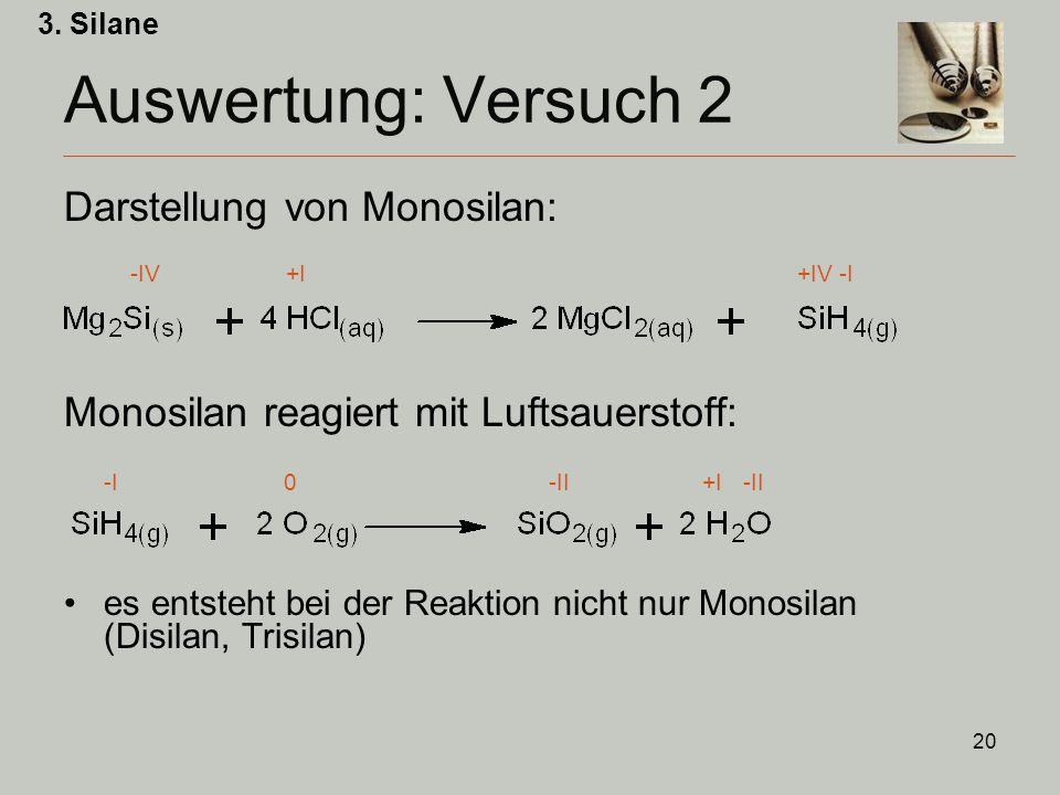 Auswertung: Versuch 2 Darstellung von Monosilan: