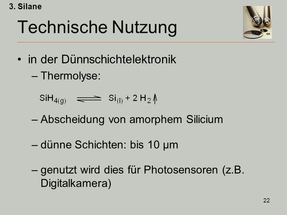 Technische Nutzung in der Dünnschichtelektronik Thermolyse: