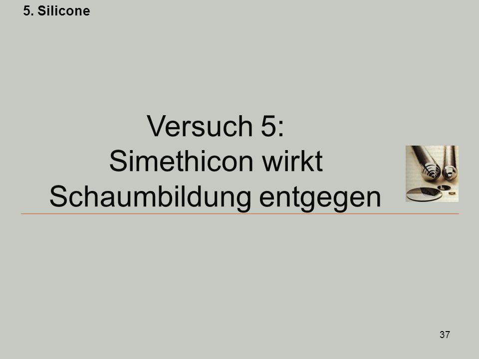 Versuch 5: Simethicon wirkt Schaumbildung entgegen