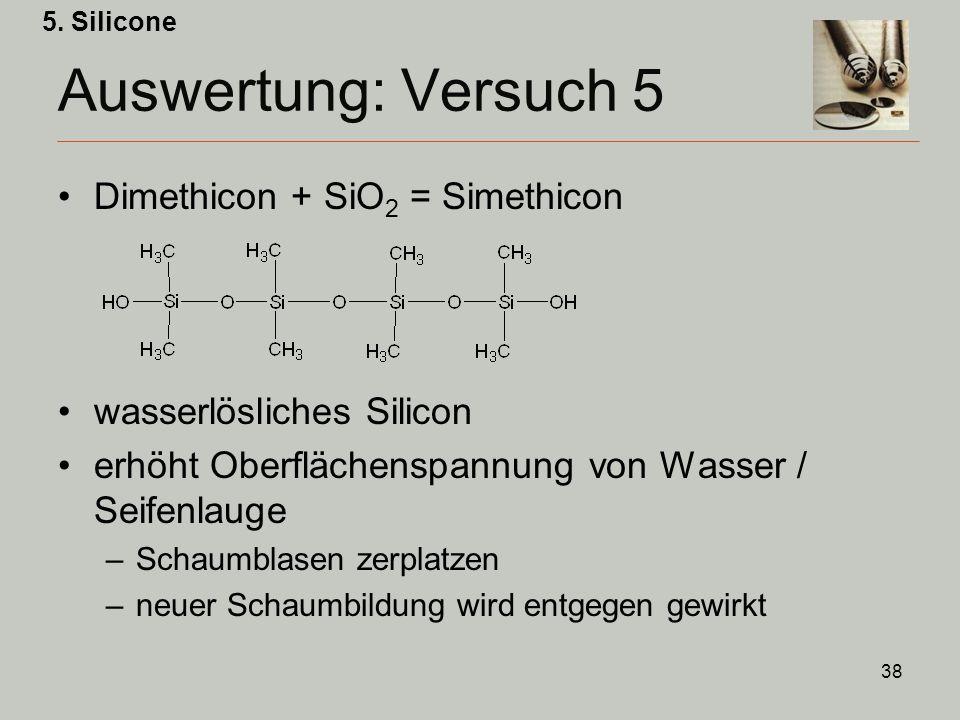 Auswertung: Versuch 5 Dimethicon + SiO2 = Simethicon