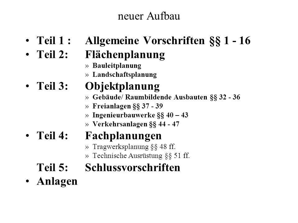 Teil 1 : Allgemeine Vorschriften §§ 1 - 16 Teil 2: Flächenplanung