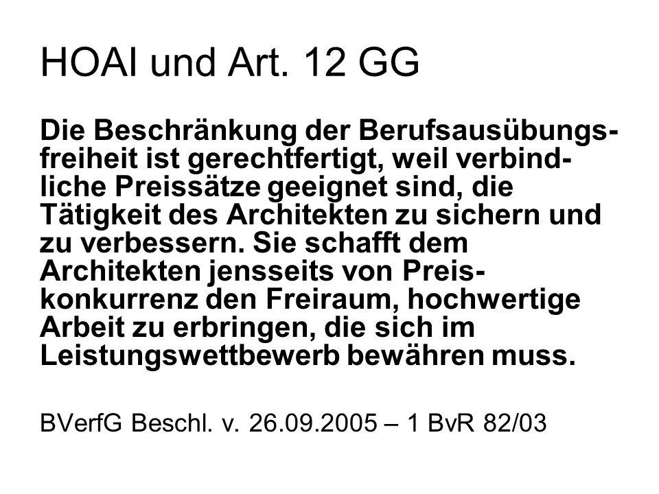 HOAI und Art. 12 GG