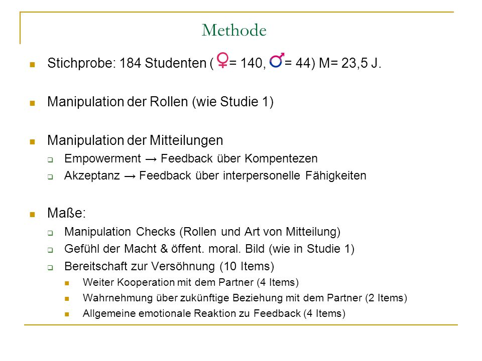 Methode Stichprobe: 184 Studenten ( = 140, = 44) M= 23,5 J.