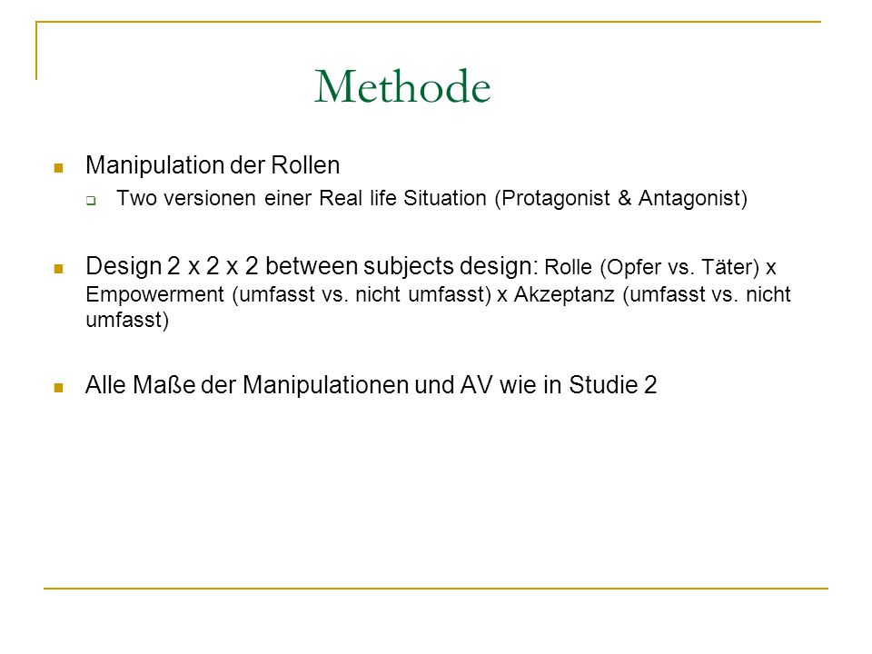 Methode Manipulation der Rollen