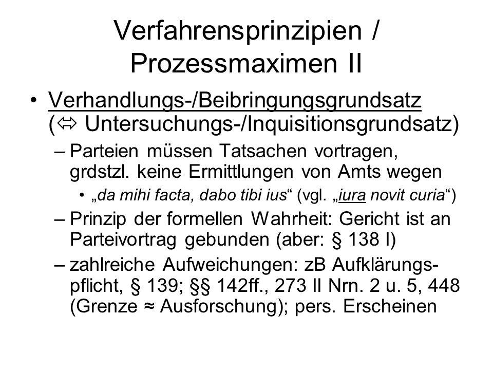 Verfahrensprinzipien / Prozessmaximen II