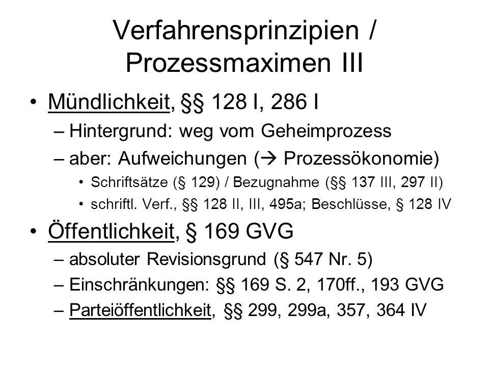 Verfahrensprinzipien / Prozessmaximen III
