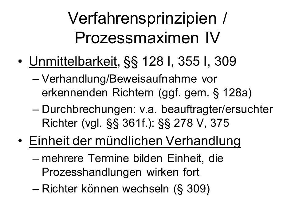 Verfahrensprinzipien / Prozessmaximen IV