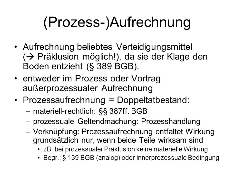 (Prozess-)Aufrechnung