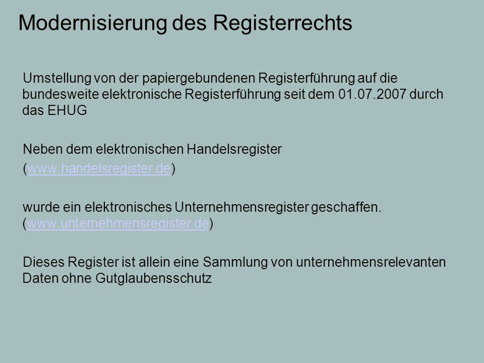 Modernisierung des Registerrechts