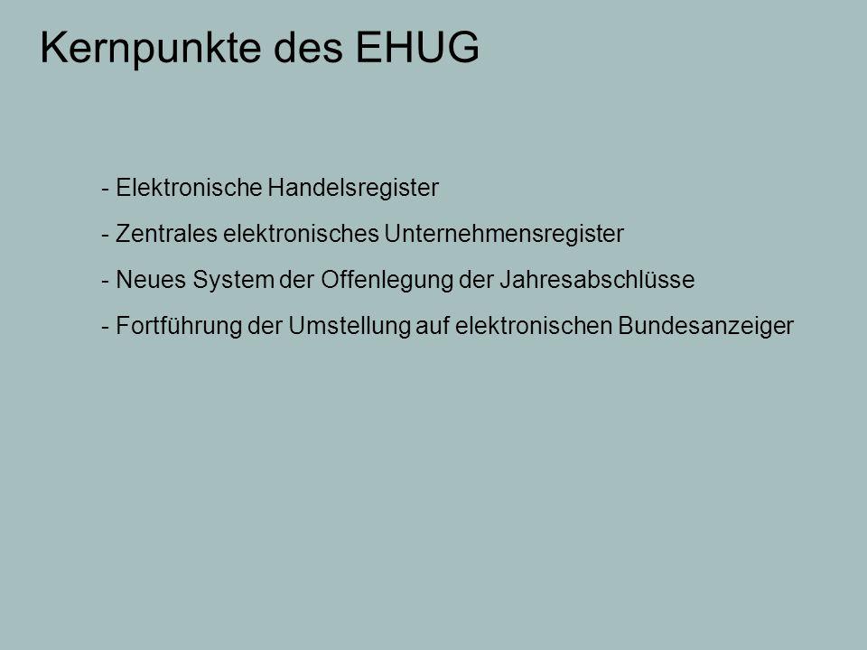 Kernpunkte des EHUG - Elektronische Handelsregister
