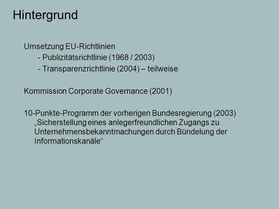 Hintergrund Umsetzung EU-Richtlinien
