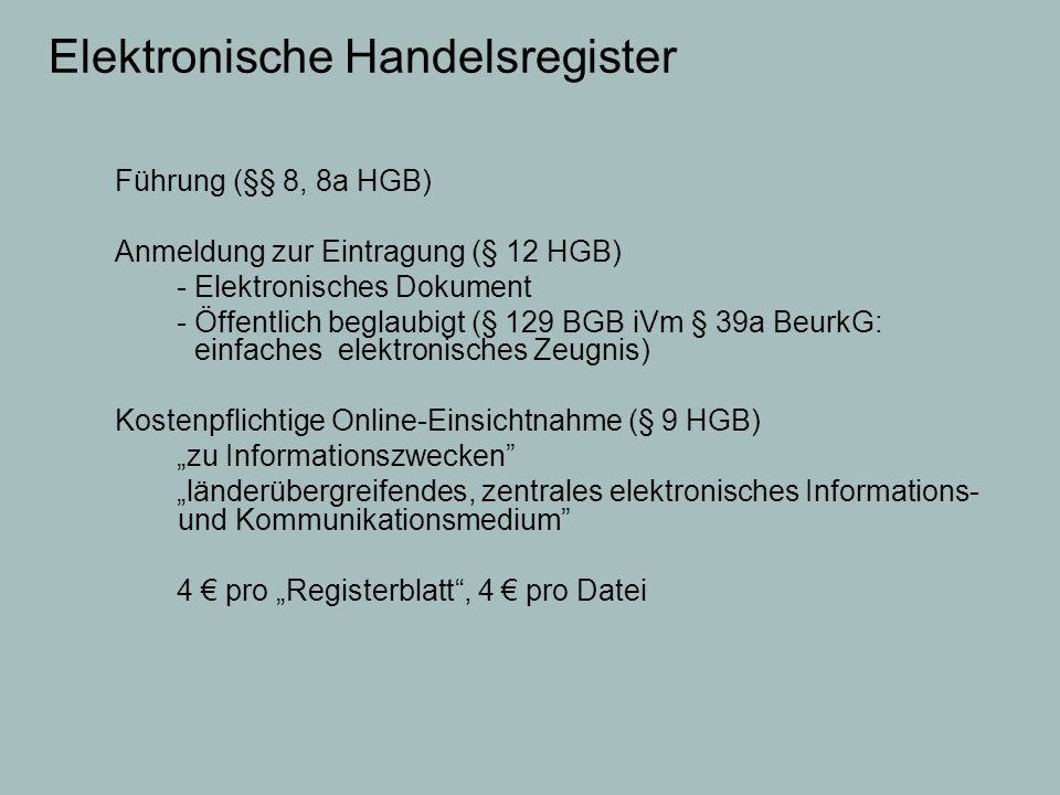 Elektronische Handelsregister