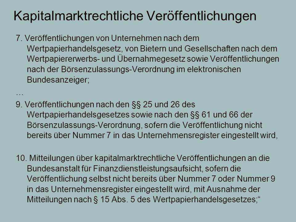 Kapitalmarktrechtliche Veröffentlichungen