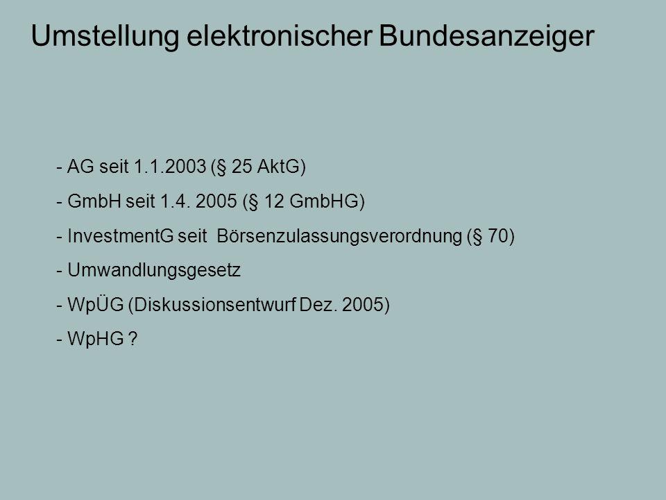 Umstellung elektronischer Bundesanzeiger