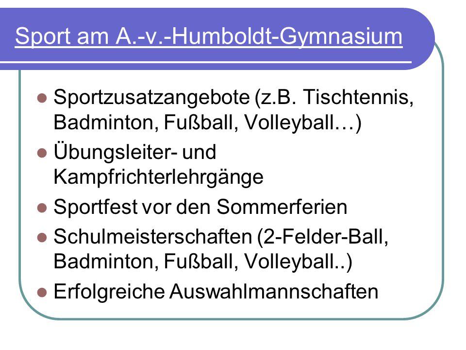Sport am A.-v.-Humboldt-Gymnasium