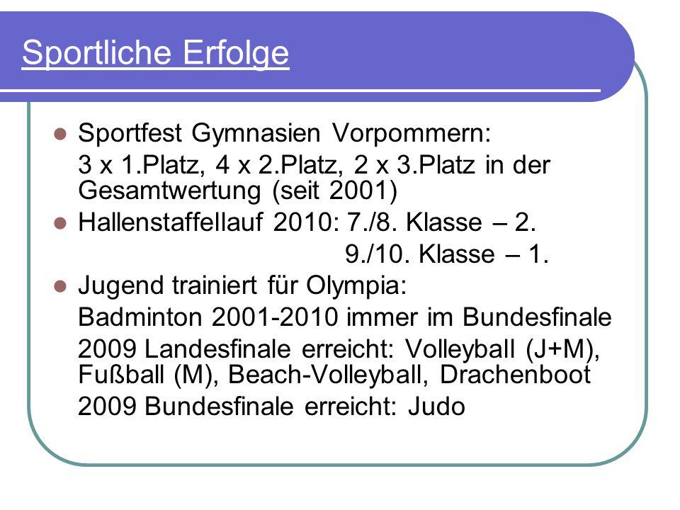 Sportliche Erfolge Sportfest Gymnasien Vorpommern: