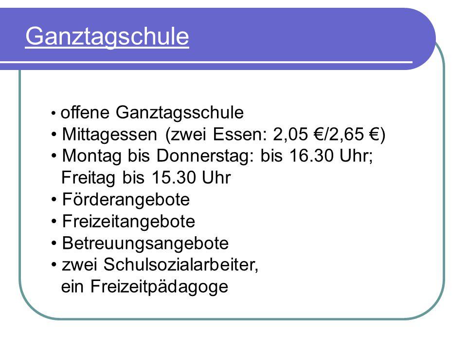 Ganztagschule Mittagessen (zwei Essen: 2,05 €/2,65 €)