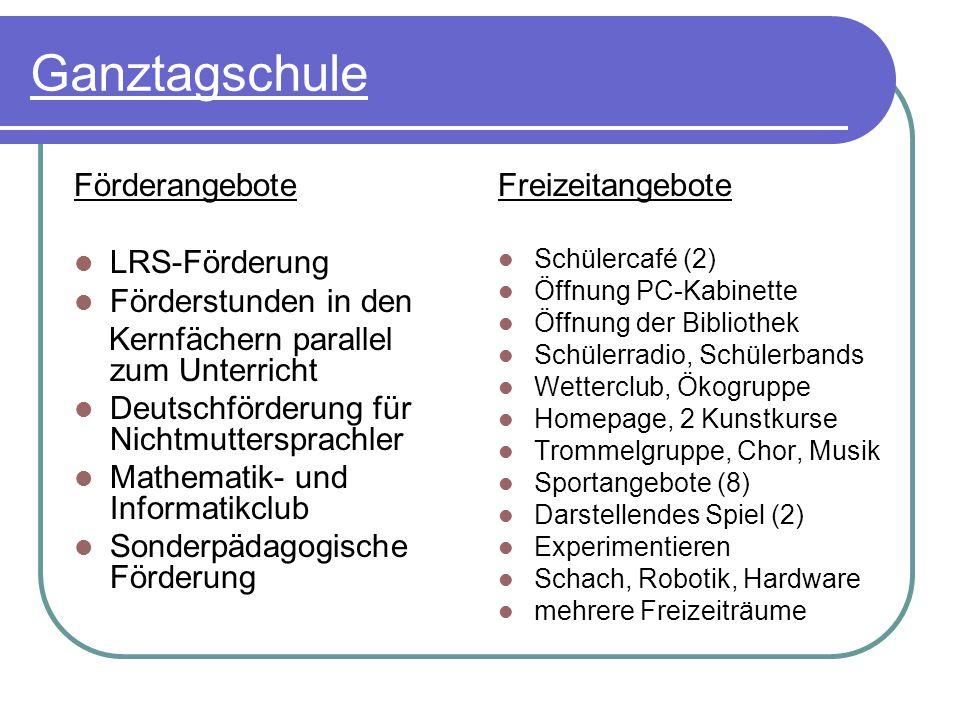 Ganztagschule Förderangebote LRS-Förderung Förderstunden in den