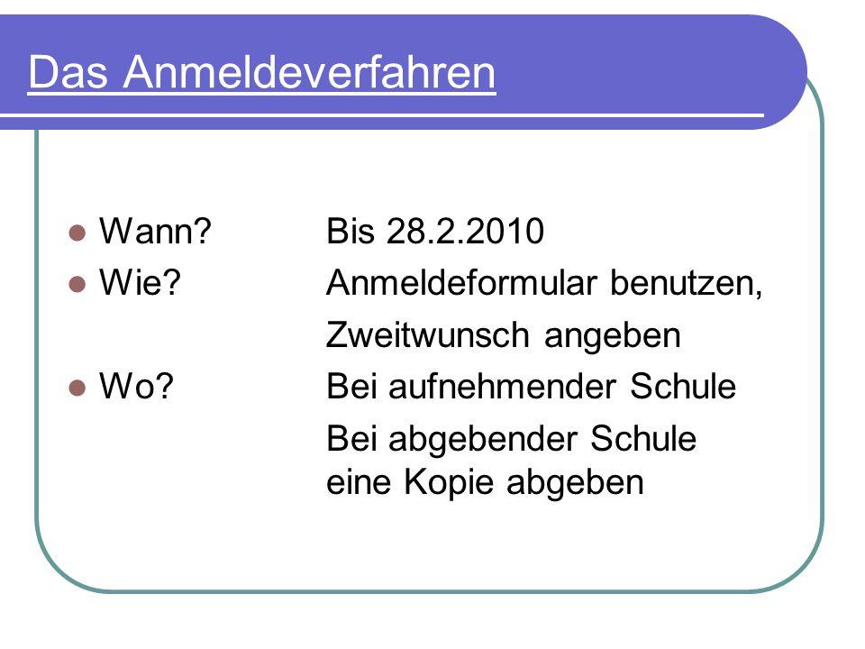 Das Anmeldeverfahren Wann Bis 28.2.2010