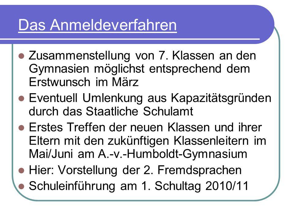 Das Anmeldeverfahren Zusammenstellung von 7. Klassen an den Gymnasien möglichst entsprechend dem Erstwunsch im März.