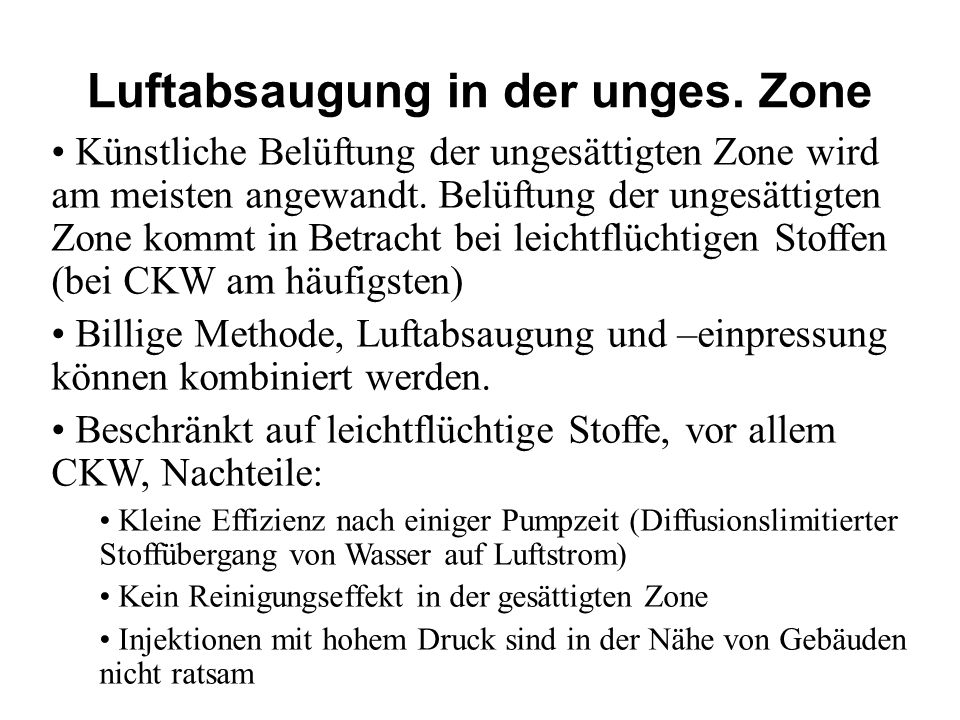 Luftabsaugung in der unges. Zone