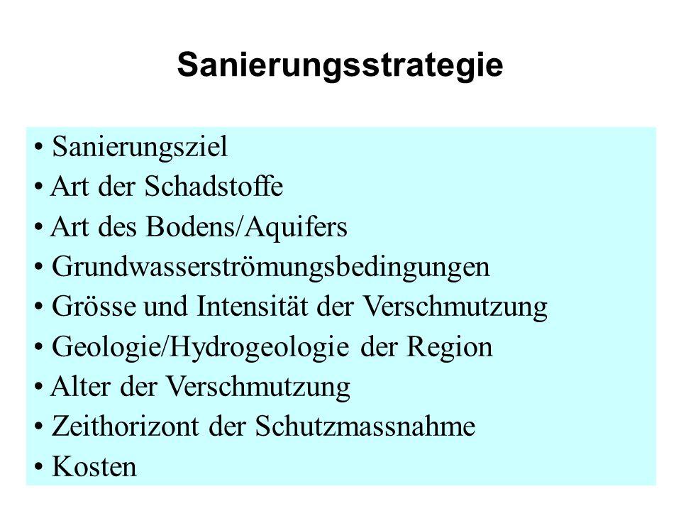 Sanierungsstrategie Sanierungsziel Art der Schadstoffe