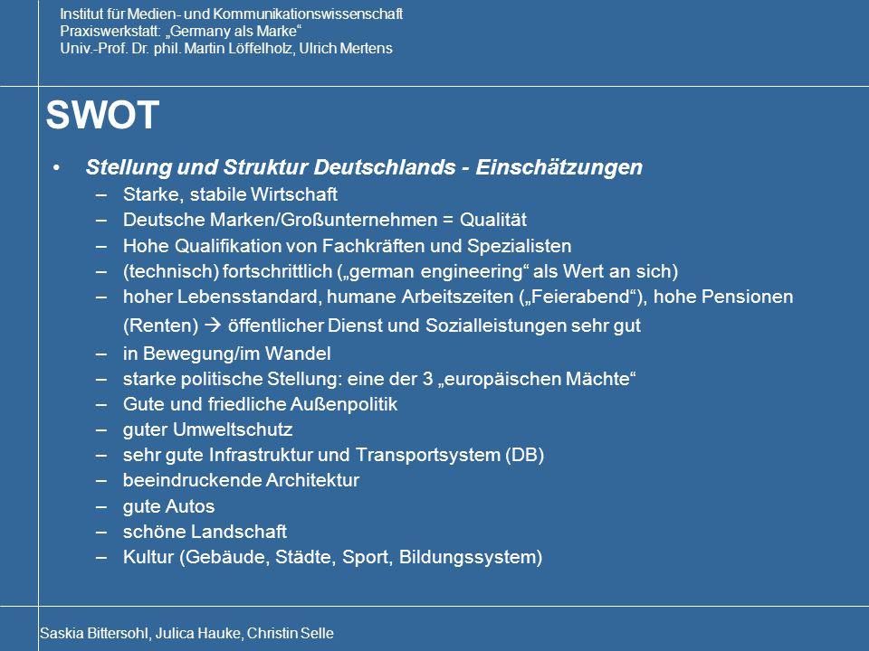 SWOT Stellung und Struktur Deutschlands - Einschätzungen