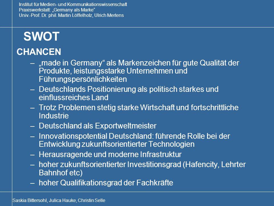 """SWOT CHANCEN. """"made in Germany als Markenzeichen für gute Qualität der Produkte, leistungsstarke Unternehmen und Führungspersönlichkeiten."""