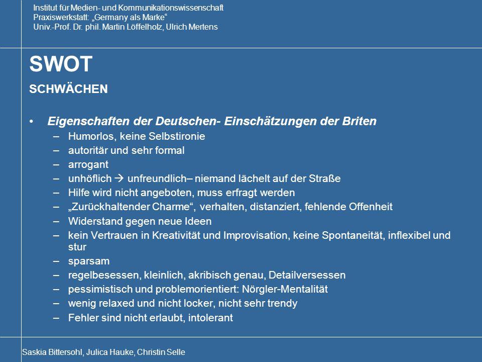 SWOT SCHWÄCHEN Eigenschaften der Deutschen- Einschätzungen der Briten