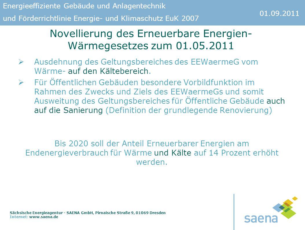 Novellierung des Erneuerbare Energien-Wärmegesetzes zum 01.05.2011