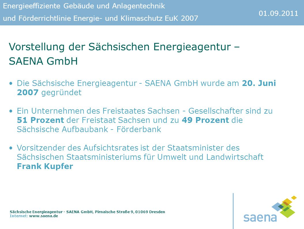 Vorstellung der Sächsischen Energieagentur – SAENA GmbH