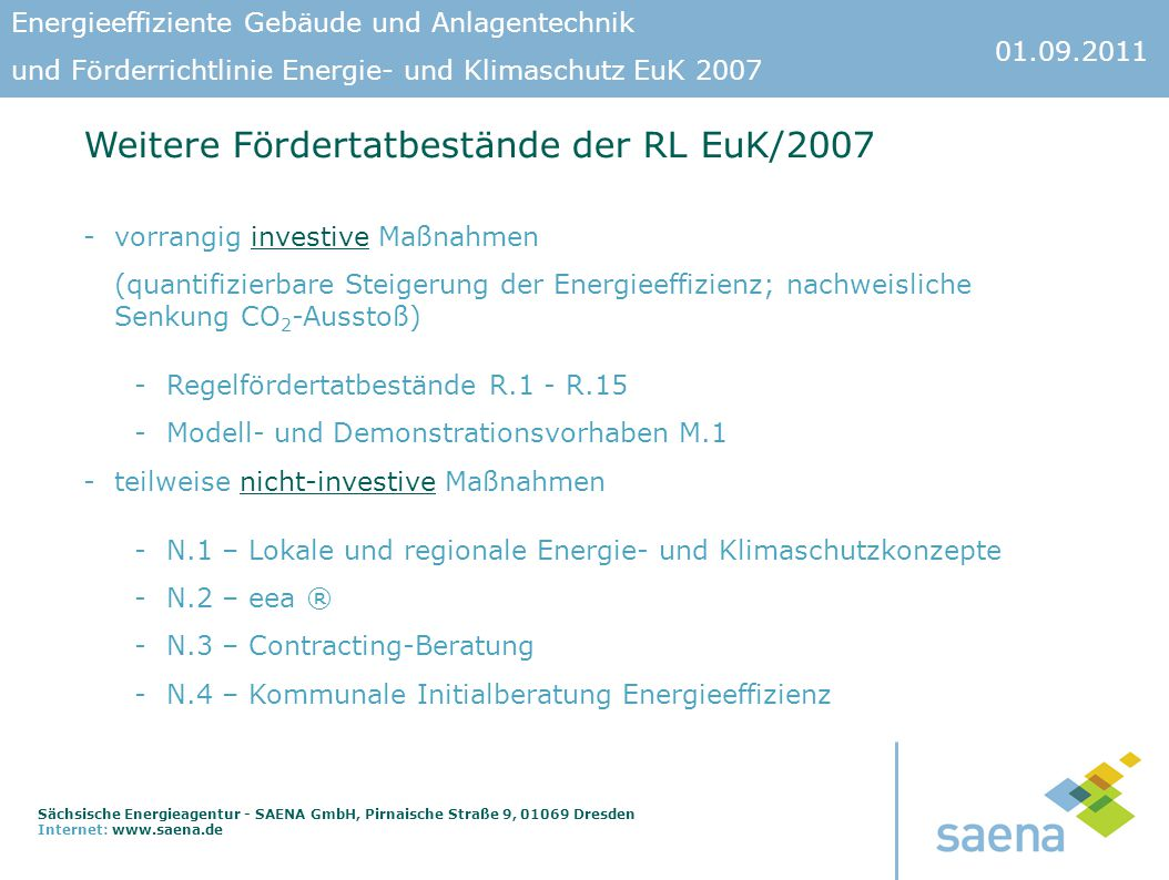 Weitere Fördertatbestände der RL EuK/2007