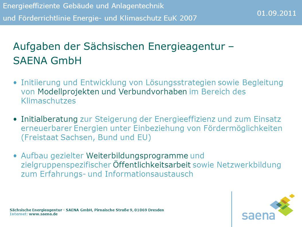 Aufgaben der Sächsischen Energieagentur – SAENA GmbH