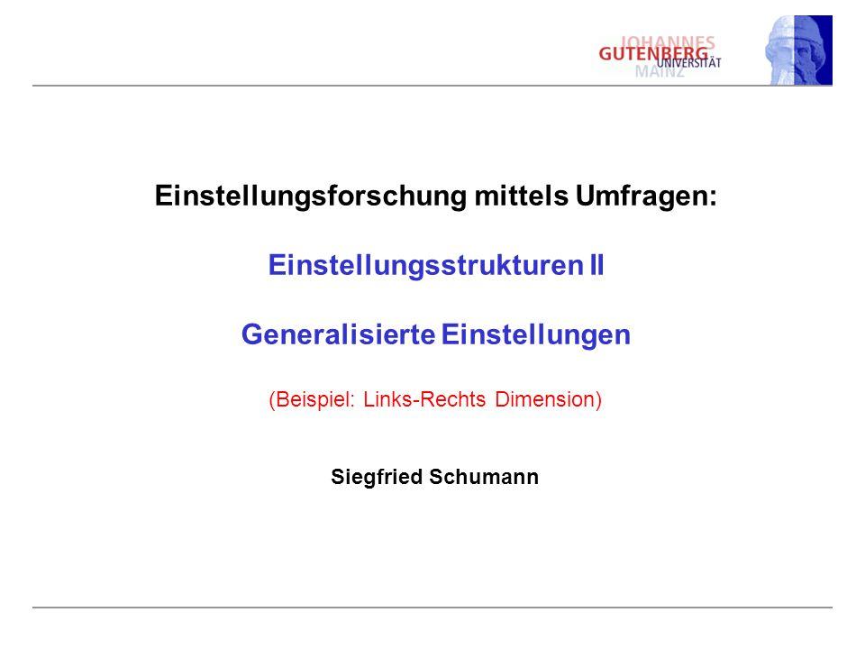 Einstellungsforschung mittels Umfragen: Einstellungsstrukturen II Generalisierte Einstellungen (Beispiel: Links-Rechts Dimension) Siegfried Schumann