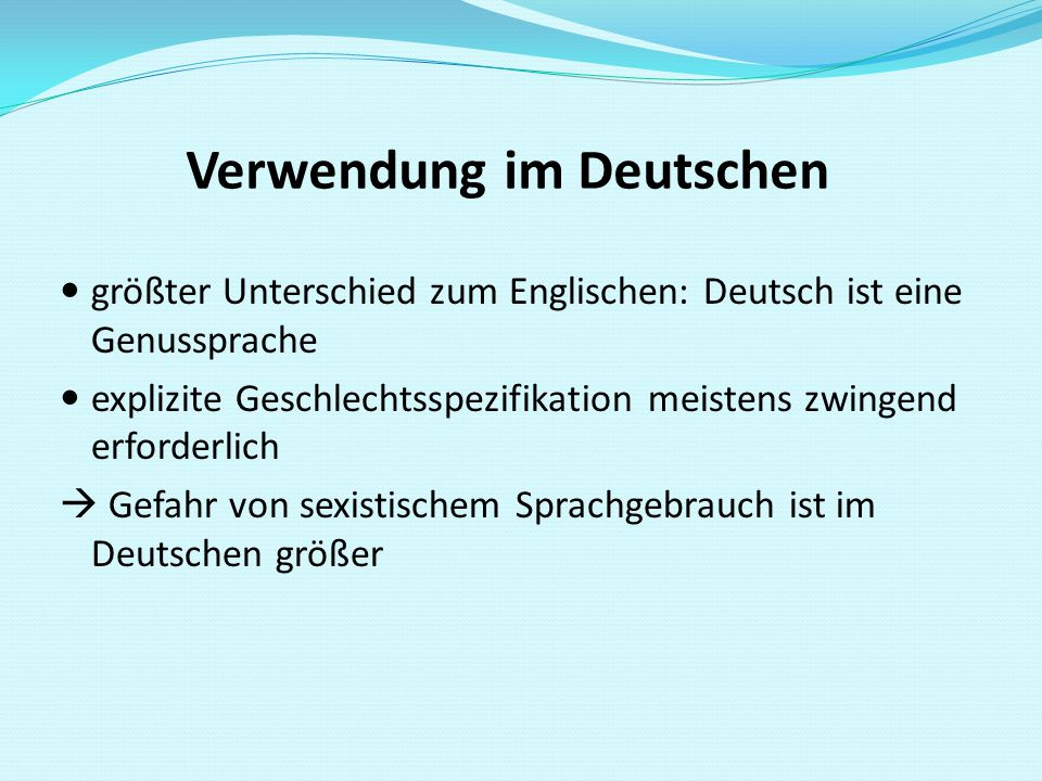 Verwendung im Deutschen