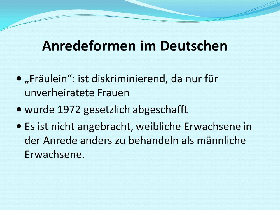Anredeformen im Deutschen