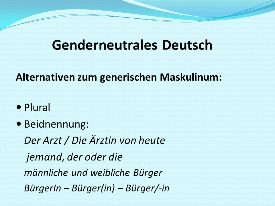 Genderneutrales Deutsch