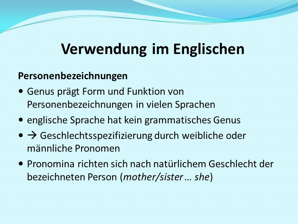 Verwendung im Englischen