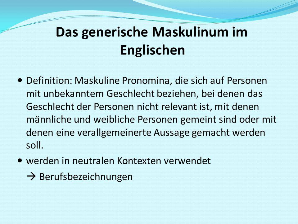 Das generische Maskulinum im Englischen