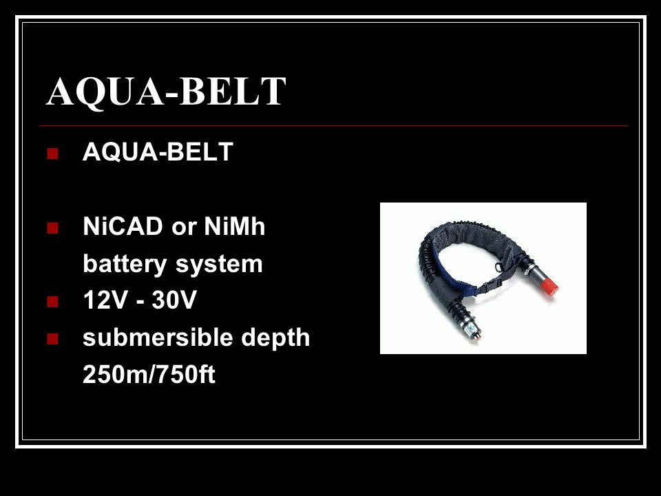 AQUA-BELT AQUA-BELT NiCAD or NiMh battery system 12V - 30V