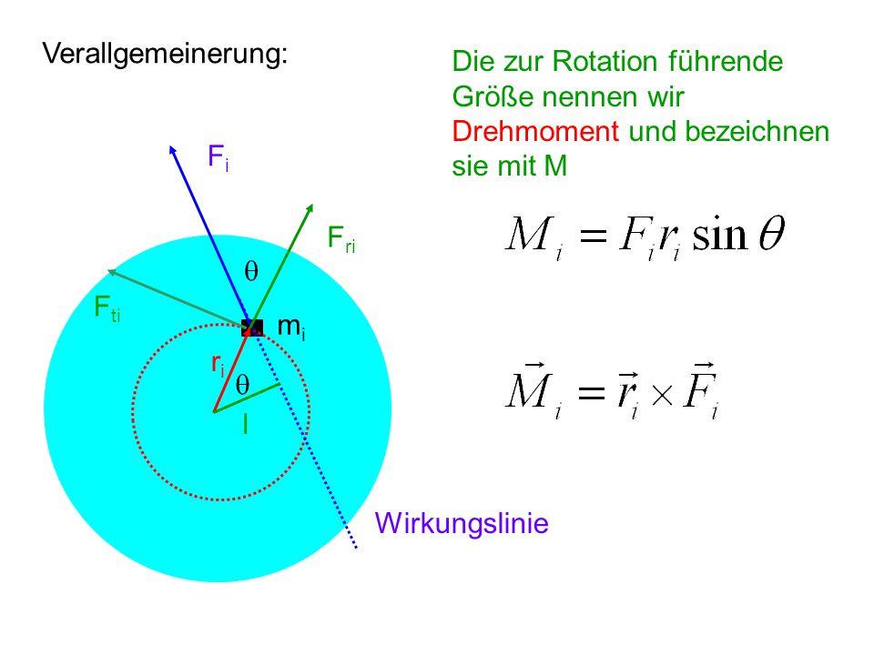 Verallgemeinerung: Die zur Rotation führende. Größe nennen wir. Drehmoment und bezeichnen. sie mit M.