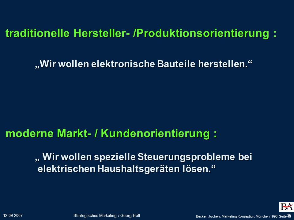 traditionelle Hersteller- /Produktionsorientierung :