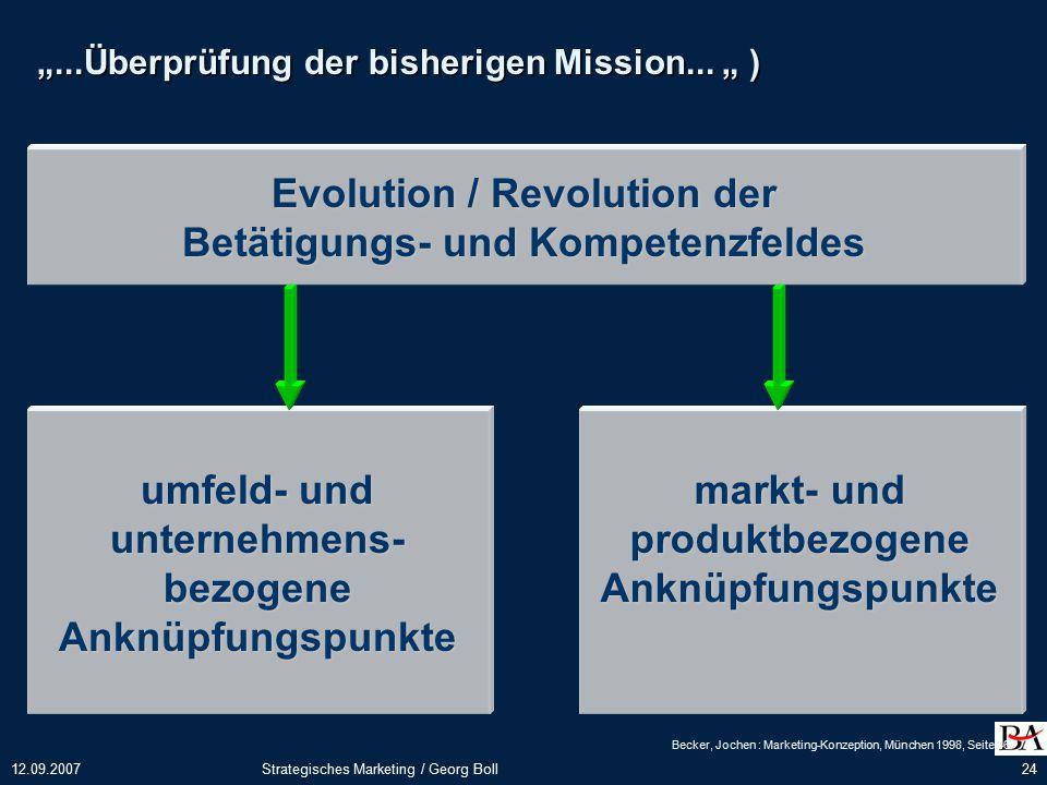 Evolution / Revolution der Betätigungs- und Kompetenzfeldes