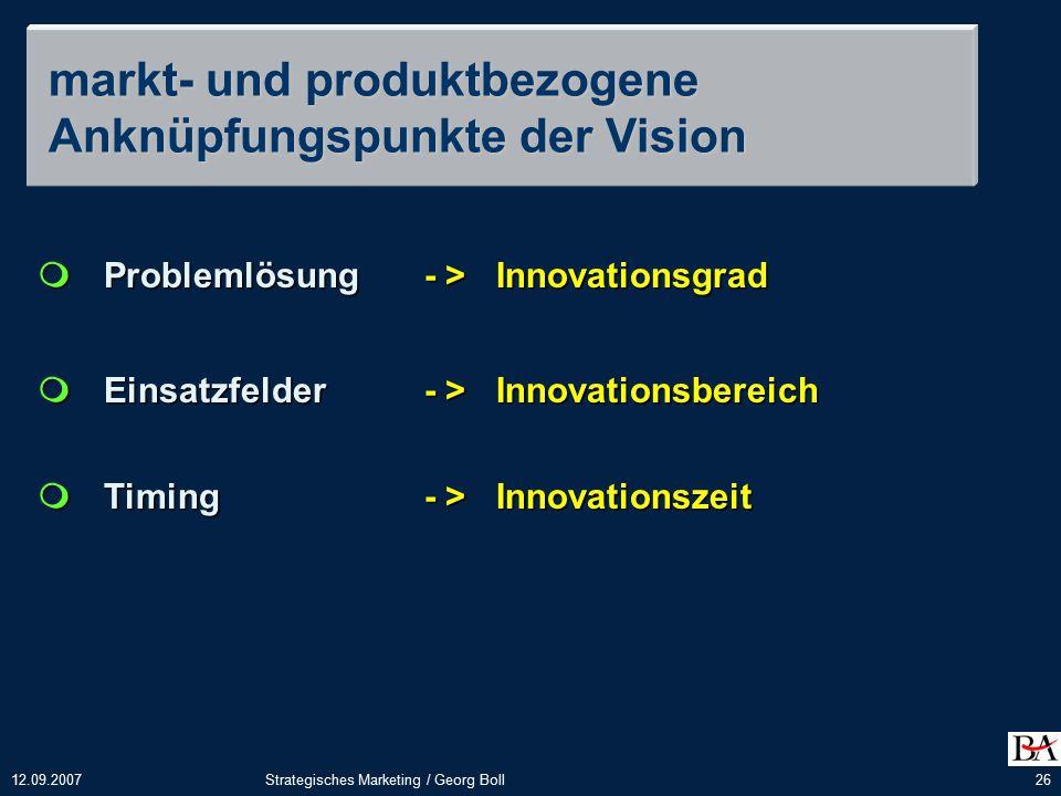 markt- und produktbezogene Anknüpfungspunkte der Vision